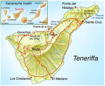 Kanaren Inseln Karte.Teneriffa Traumhafte Insel Im Atlantik